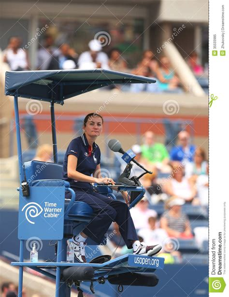 chair umpire during match between venus
