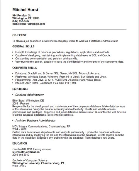 Sql Skills Resume by Database Admin Resume Exle Free Templates Collection