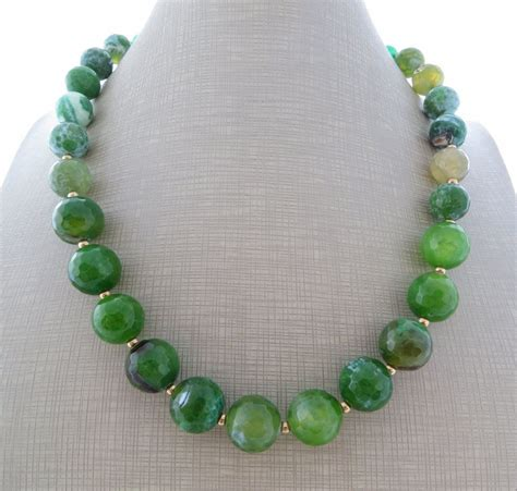 agate necklace green jade necklace stone choker beaded