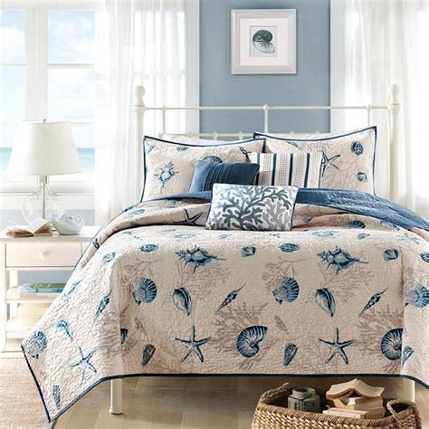Bedroom Coverlets by Blue Seashell 5pc Quilt Set House Tropical