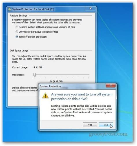 reduce disk space used by windows system restore
