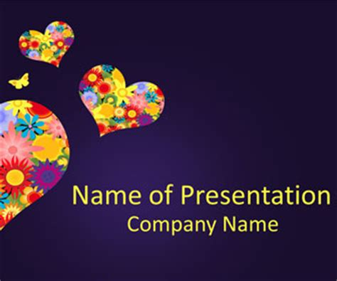 fancy hearts powerpoint template templateswisecom