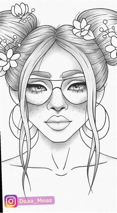 Coloring Drawing Printable Colouring Easy Portrait Clothes