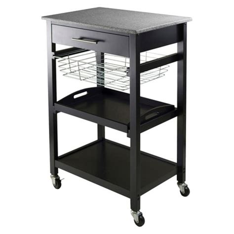 julia granite top kitchen cart woodblack winsome target