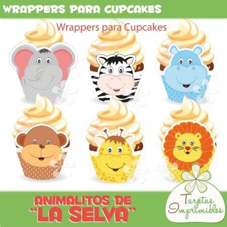 wrappers para cupcakes con animalitos para fiestas tematicas animalitos de la selva jungla