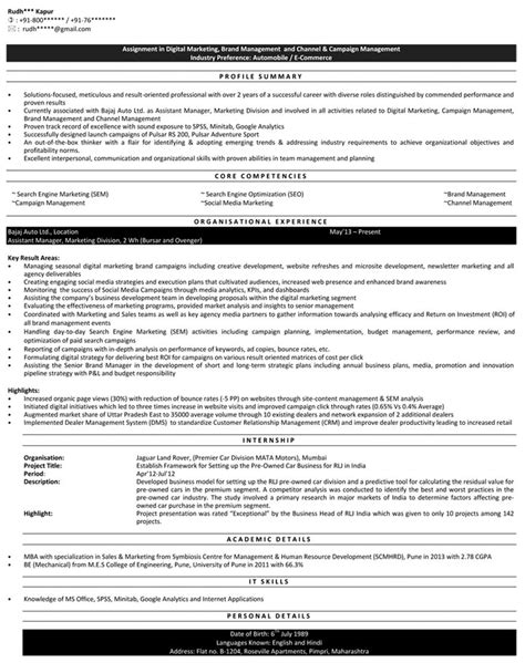 resume for sales and marketing in india 28 images