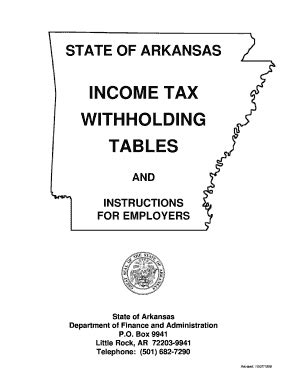 state of arkansas withholding tax tables state tax withholding forms templates fillable