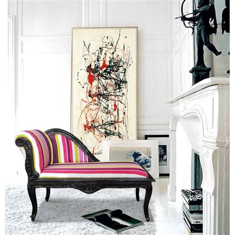 chaise multicolore louis xv chaise longue multicolor striped fabric and black