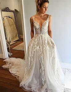 a line deep v neck court train ivory tulle wedding dress With deep v wedding dress