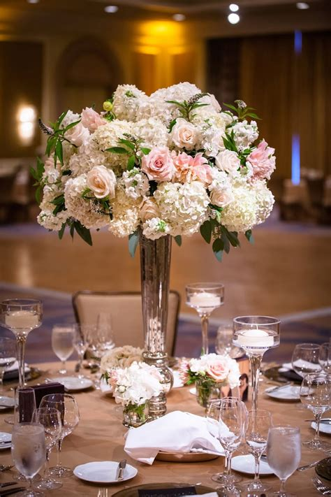 Peach Ivory Green Floral Centerpieces Ballroom Wedding