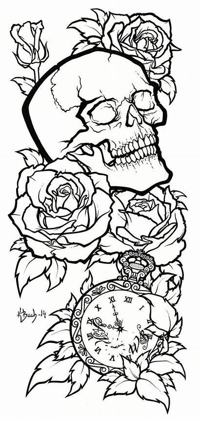 Skull Tattoo Deviantart Lineart Outline Drawings Drawing