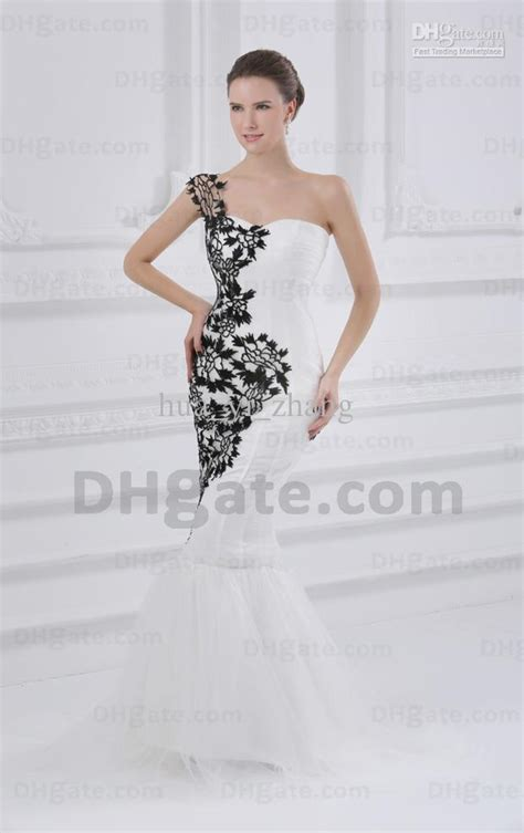black and white wedding dresses one shoulder lace flowers