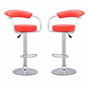 Chaise De Bar Rouge : tabouret de bar rouge x 2 retro coiffeur tabouret de bar topkoo ~ Teatrodelosmanantiales.com Idées de Décoration