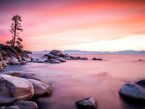 Background Landscape Lake Shore Stones, Wood Sunset ...