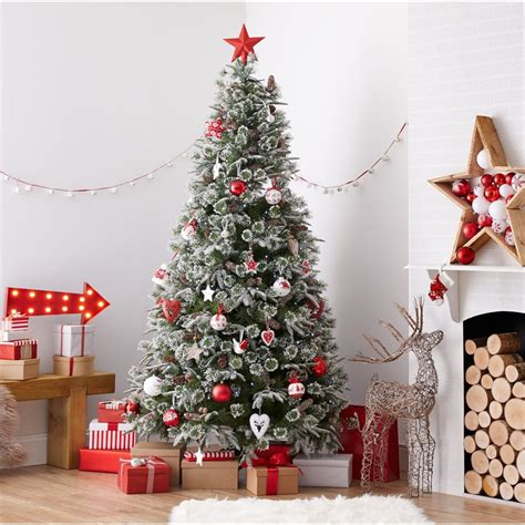 mobacks decorated trees 7ft emperor snowy artificial tree at homebase co uk