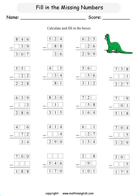 find  missing digits    digit subtraction