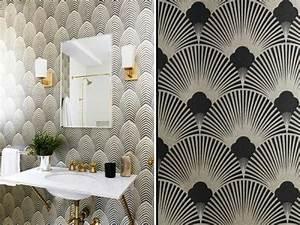 papier peint art deco couleurs et geometrie With salle de bain design avec mug blanc à décorer pas cher