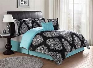 Black, U0026, Turquoise, Teal, Blue, Comforter, Set, Elegant, Scroll