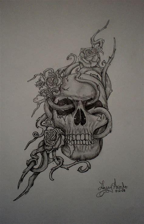 Skull Rose Pencil Drawing Fuddtazztwo Deviantart