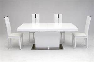 Zenith Modern White Extendable Dining Table