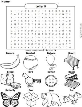 phonics worksheet beginning letter sounds letter of the week b word search