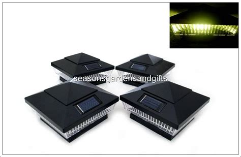 16 pk 4x4 black solar post deck cap fence lights 5 leds