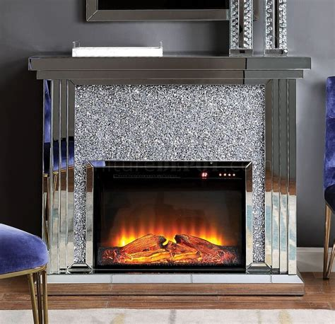 noralie electric fireplace   mirror  acme