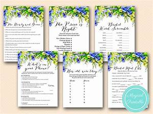 elegant blue floral bridal shower games magical printable With classy wedding shower games