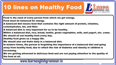 lines  healthy food essay  english