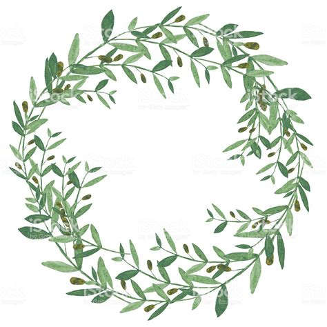 watercolor olive wreath stock vector 505894480 istock