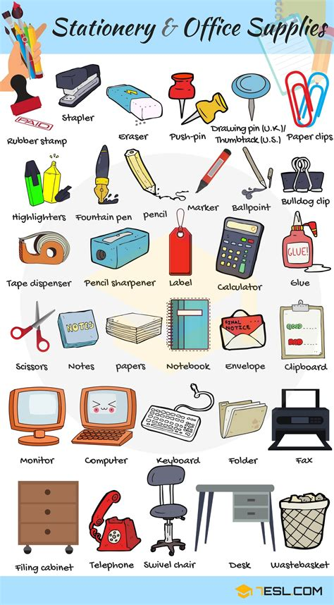 and equipment vocabulary with pictures lesson stationery and office supplies vocabulary in Office