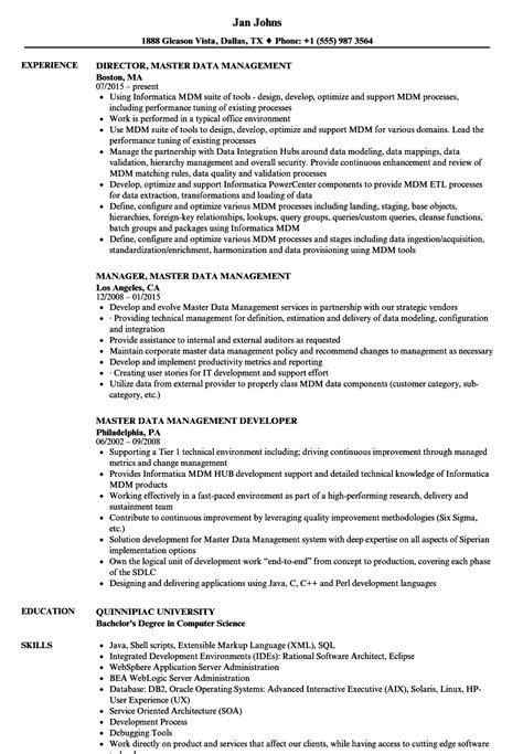 Data Management Resume Sle by Master Data Management Resume Vvengelbert Nl