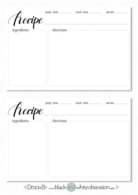 adorable black  white printable recipe cards freebie
