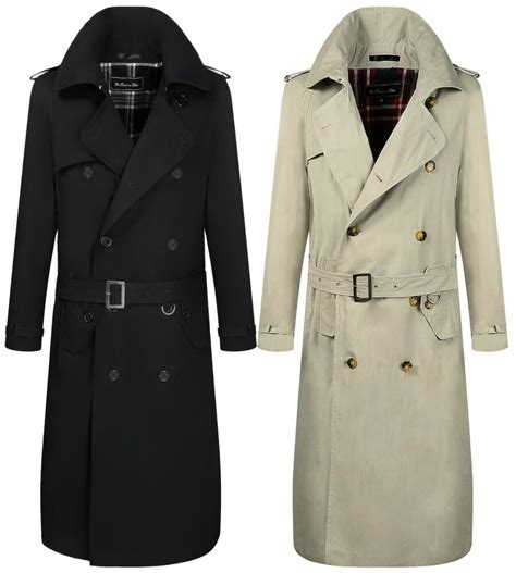 men traditional double breasted long trench coat rain
