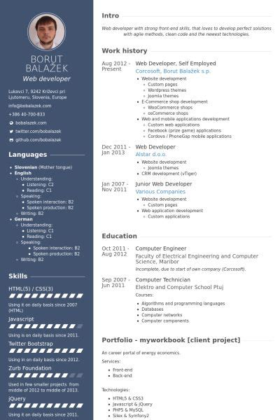 employed resume samples templates web developer