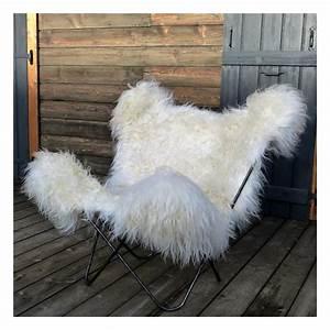 Peau De Mouton Naturelle : fauteuil butterfly peau mouton naturelle structure acier ~ Teatrodelosmanantiales.com Idées de Décoration