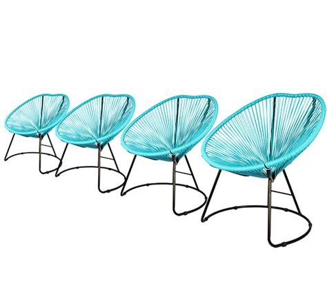lot 4 fauteuils de jardin copacabana fil bleu turquoise