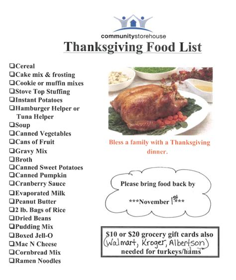 thanksgiving list of foods home sendera ranch elementary