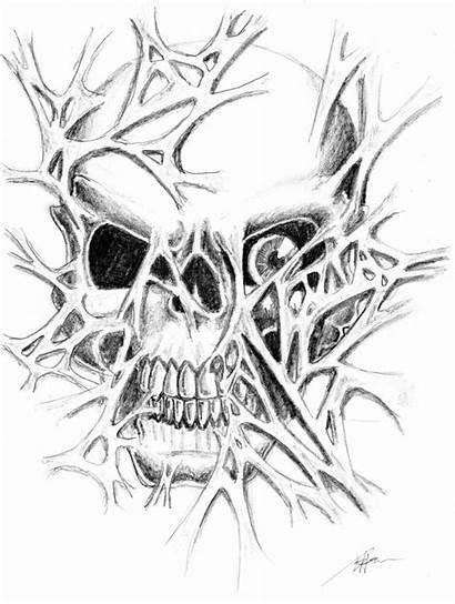 Skull Tattoo Skin Evil Ripping Drawings Drawing