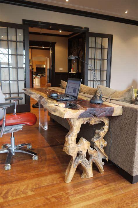 bureau en bois exotique console ou bureau en bois exotique tamarin live edge