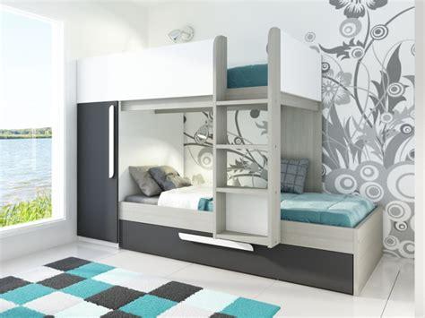 meuble tiroir bureau lit superposé antonio 2x90x190cm armoire option matelas