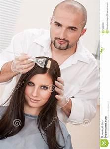 Professional Hairdresser Color Customer At Salon Royalty ...