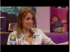 GMTV Keeley Hawes pops out of her blouse while talking