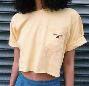 T-shirt tommy hilfiger yellow crop tops vintage crop tommy hilfiger tommy hilfiger top ...