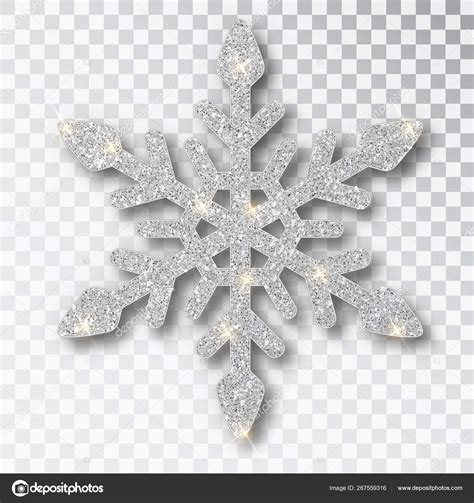 Glitter Snowflake Background by Silver Snowflake Isolated On A Transparent Background