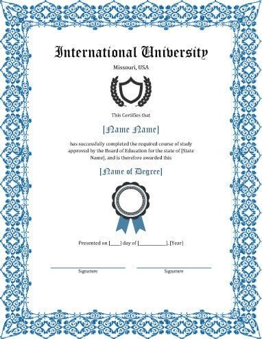 E Certificate Templates by 11 Free Printable Degree Certificates Templates