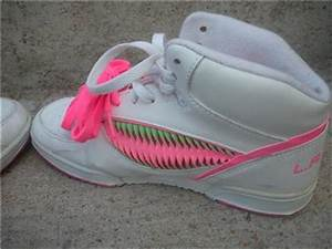 VTG 80s LA GEAR WHITE & NEON BRIGHT High Top Shoes 8