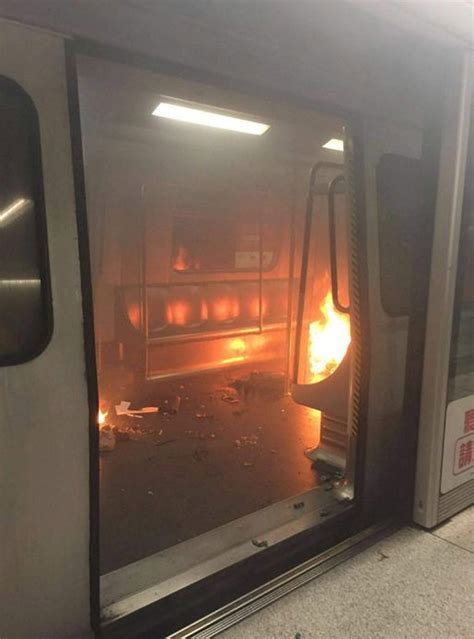 hong kong  immolation scare train evacuated  babbling man sets   fire
