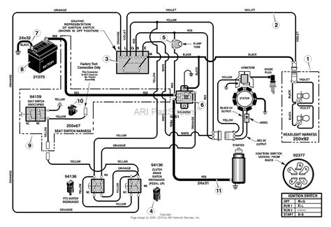 murray 385016x78a lawn tractor 2004 parts diagram for electrical system