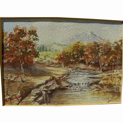 Mountain Watercolor Landscape Impressionist Painting Signed Jbfinearts